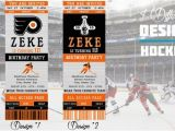 Hockey Ticket Birthday Invitations Philadelphia Flyers Birthday Invitation Hockey Ticket