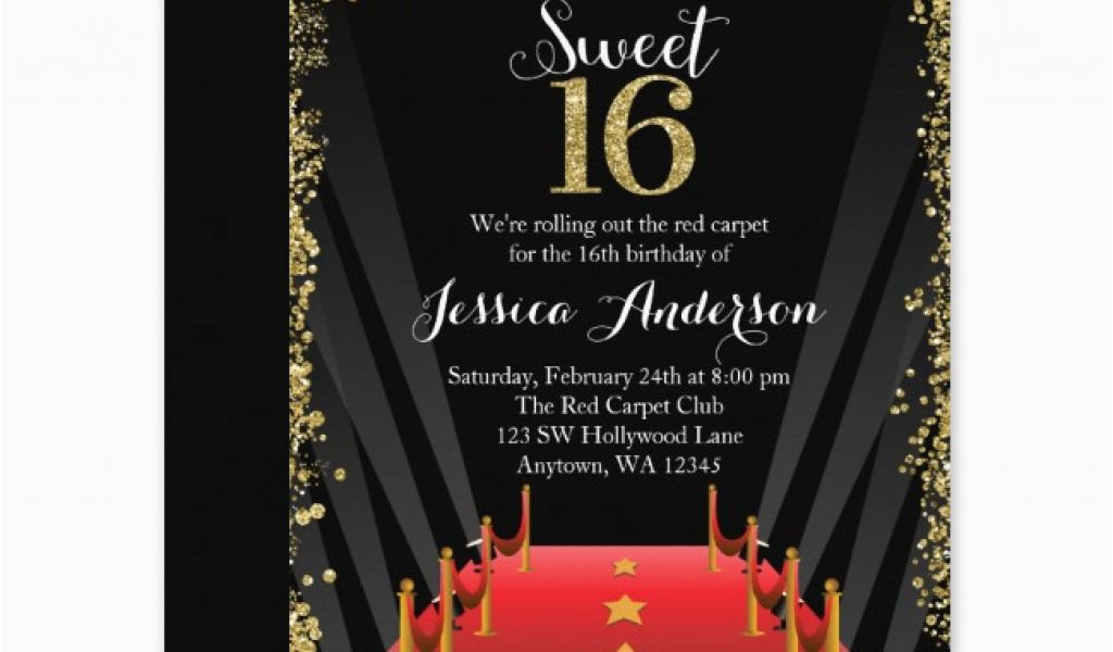 Hollywood Themed Birthday Party Invitations Red Carpet