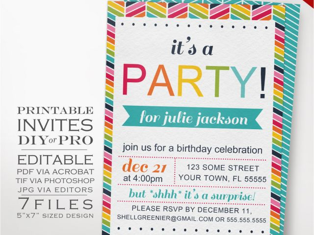 Homemade Birthday Invitations Templates Diy Rainbow Party