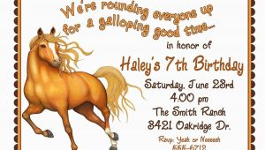 Horse Birthday Invites Personalized Birthday Invitations Horse Western Wild West