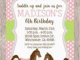 Horse Birthday Invites Printable Horse Birthday Party Invitation Pony by
