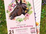 Horse themed Birthday Invitations Horse Birthday Party Invitation for A Girl Pony