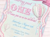 Hot Air Balloon 1st Birthday Invitations Hot Air Balloon Party Invitation Up Up and Away Shabby Chic