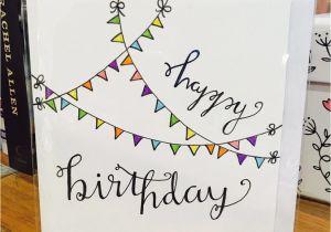 How to Draw A Birthday Card Happy Birthday Card Flag Cute White Design Handmade Drawn