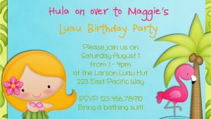 Hula Birthday Party Invitations Hula Girl Birthday Party Invitation Luau Tropical Hawaiian