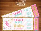 Ice Skating Birthday Card Printable Pink and Gold Ice Skating Ticket Birthday