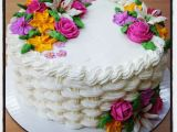 Icing Decorations for Birthday Cakes buttercream Basket Weave Cake with Royal Icing Flowers