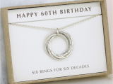 Ideas for 60th Birthday Presents for Him 60th Birthday Silver Necklace 6 Rings for 6 Decades In