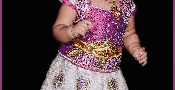 Indian Baby Girl Birthday Dresses Indian Cute Girl Baby First Birthday Jewellery and Dress
