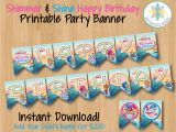 Instant Download Happy Birthday Banner Shimmer and Shine Happy Birthday Banner Instant Download