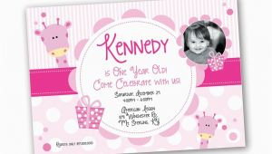 Invitation Card for 1 Year Old Birthday Girl 1 Year Old Girl Birthday Invitation Giraffe theme Design