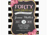 Invitation Cards for 40th Birthday Party 40th forty Fabulous Birthday Invitation Zazzle Com