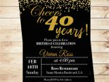Invitation Cards for 40th Birthday Party Cheers to 40 Years Birthday Printable Invitation 40th