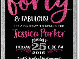 Invitation Cards for 40th Birthday Party Pink Black forty and Fabulous 40th Birthday Invitations