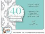 Invitation Cards for 40th Birthday Party Surprise 40th Birthday Invitation Free Template