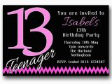 Invitation for 13th Birthday Girl 10 Personalised Boys Girls Teenager 13th Birthday Party