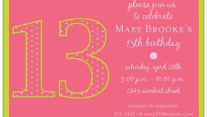 Invitation for 13th Birthday Girl 13th Birthday Girl Dots Invitations Paperstyle