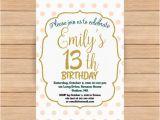 Invitation for 13th Birthday Girl 13th Birthday Invitation Girl Pink Gold Birthday Invitations