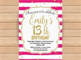 Invitation for 13th Birthday Girl 13th Birthday Invitation Thirteenth Birthday Gold Glitter