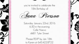 Invitation for 18th Birthday Party 18th Birthday Party Invitation Adult Birthday Invitations