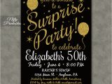 Invitation for A Surprise Birthday Party Surprise Party Invitations Printable Black Gold Surprise