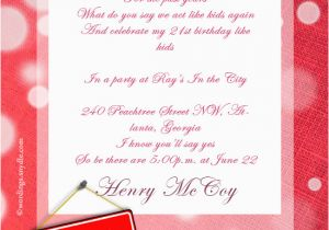 Invitation Messages For Birthday Party 21st Wording Wordings And