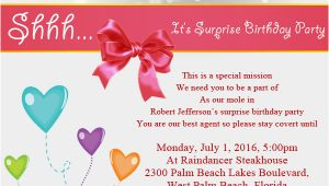 Invitation Verbiage for Birthday Party Surprise Birthday Party Invitation Wording Wordings and