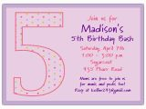 Invitation Wording for 5th Birthday Girl 5th Birthday Girl Dots Birthday Invitations Paperstyle