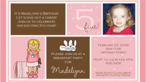 Invitation Wording for 5th Birthday Girl 5th Birthday Invitation Wording Ideas Bagvania Free