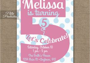 Invitation Wording For 5th Birthday Girl Invitations Printable Fifth