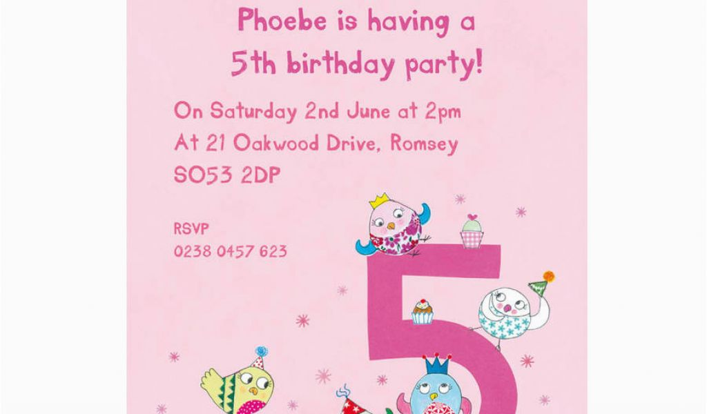 Invitation Wording For 5th Birthday Girl Personalised Fifth Birthday