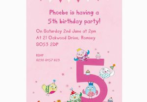 Invitation Wording For 5th Birthday Girl Personalised Fifth Party Invitations By Made