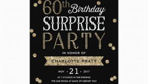 Invitation Wording for 60th Birthday Surprise Party 60th Glitter Confetti Surprise Party Invitation Birthday