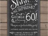 Invitation Wording for 60th Birthday Surprise Party Surprise 60th Birthday Invitation Chalkboard Invitation