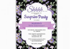 Invitation Wording For 70th Birthday Surprise Party Purple By