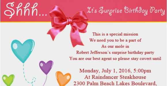 Invitation Words for Birthday Party Surprise Birthday Party Invitation Wording Wordings and