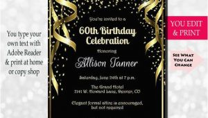Invitations for 60 Birthday Party 60th Birthday Invitation 60th Birthday Party Invitation 60th