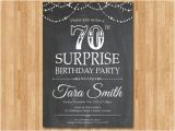 Invitations for 70th Birthday Surprise Party Surprise 70th Birthday Invitation Chalkboard Surprise