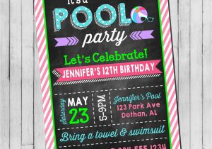 Invitations for Teenage Girl Birthday Party Pool Party Birthday Invitation Girl Teen Pool Party Beach