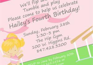 Invite to Birthday Party Wording Gymnastics Birthday Party Invitation Wording Home Party
