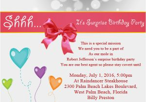 Invite to Birthday Party Wording Surprise Birthday Party Invitation Wording Wordings and