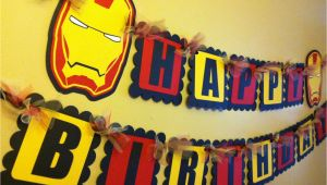Iron Man Happy Birthday Banner Iron Man Inspired Happy Birthday Banner