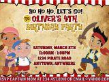 Jake and the Neverland Pirate Birthday Invitations Jake and the Neverland Pirates Party Games Invitations
