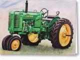 John Deere Birthday Card Vintage John Deere Tractor Painting by toni Grote