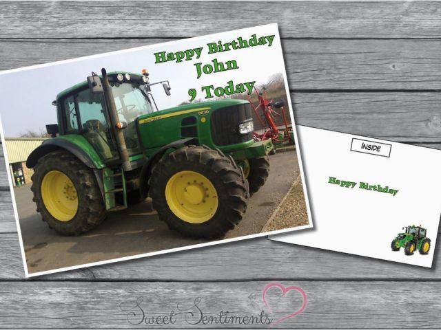 John Deere Birthday Cards Personalised Tractor