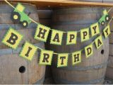 John Deere Happy Birthday Banner Tractor Birthday Party Banner Green and Yellow Tractor Farm