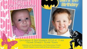 Joint Birthday Invitations for Kids Cu1134 Kids Joint Birthday Party Invitation Twins