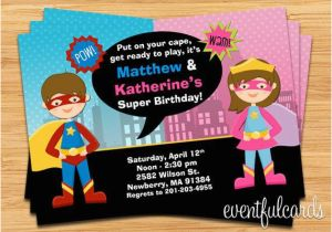 Joint Birthday Invitations For Kids Superhero And Supergirl Party Invitation
