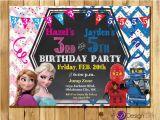 Joint Birthday Invites Frozen and Ninja Joint Birthday Party Invitations Ninjas
