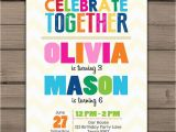 Joint Birthday Invites Joint Birthday Invitation Joint Birthday Party Invitation